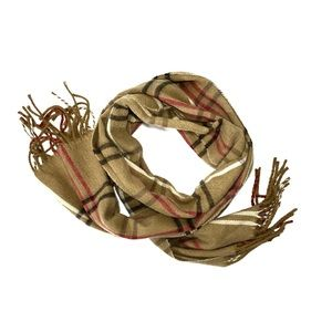 Plaid tan / black / white /red tassel fringe scarf